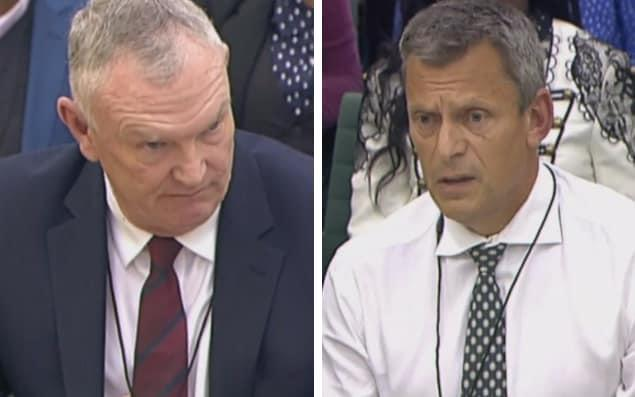 Greg Clarke (left) and Martin Glenn appeared in front of a parliamentary hearing on Wednesday