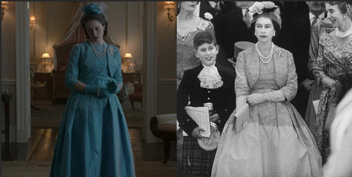 """<p>During the buildup to Princess Margaret's wedding, one could have missed the nearly identical recreation of Queen Elizabeth's dress. The monarch is only shown briefly in her cerulean belted dress, which featured a lace bodice and taffeta full skirt.</p><p><strong>RELATED: </strong><a href=""""https://www.goodhousekeeping.com/life/entertainment/g30472061/princess-margaret-lord-snowdon-relationship-photos/"""" rel=""""nofollow noopener"""" target=""""_blank"""" data-ylk=""""slk:Princess Margaret and Lord Snowdon's Relationship in Photos"""" class=""""link rapid-noclick-resp"""">Princess Margaret and Lord Snowdon's Relationship in Photos</a></p>"""