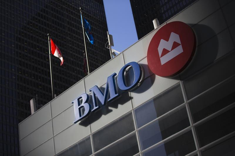 The logo for the Bank of Montreal is seen at its branch Toronto