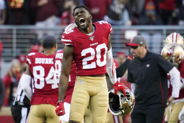 San Francisco 49ers free safety Jimmie Ward (20) celebrates during the second half of an NFL divisional playoff football game against the Minnesota Vikings, Saturday, Jan. 11, 2020, in Santa Clara, Calif. (AP Photo/Tony Avelar)