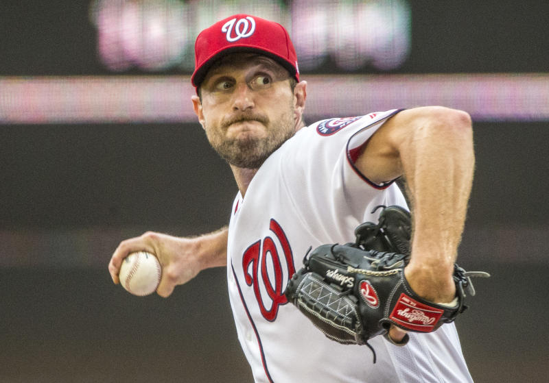 WASHINGTON, DC - JULY 25: Washington Nationals starting pitcher Max Sherzer (31) on the mound during a MLB game between the Washington Nationals and the Colorado Rockies on July 25, 2019, at Nationals Park, in Washington D.C. (Photo by Tony Quinn/Icon Sportswire via Getty Images)