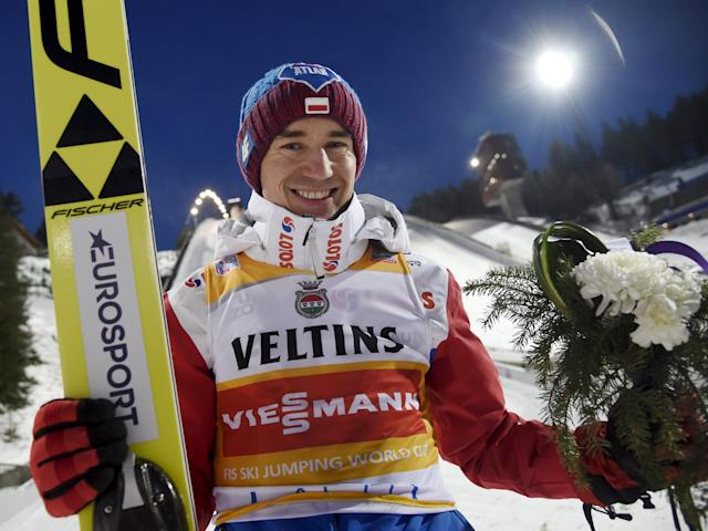 Lahti Ski Games - FIS Nordic World Cup - Men's Ski Jumping - Lahti, Finland - March 4, 2018. Kamil Stoch of Poland reacts. LEHTIKUVA/Markku Ulander via REUTERS ATTENTION EDITORS - THIS IMAGE WAS PROVIDED BY A THIRD PARTY. NO THIRD PARTY SALES. NOT FOR USE BY REUTERS THIRD PARTY DISTRIBUTORS. FINLAND OUT. NO COMMERCIAL OR EDITORIAL SALES IN FINLAND.