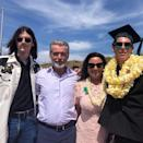 """""""Graduation day, Dylan, Dad, Mom and the graduate Paris.❤️,"""" proud papa Pierce caption this <a href=""""https://www.instagram.com/p/BynWy5Kg13z/?utm_source=ig_embed"""" rel=""""nofollow noopener"""" target=""""_blank"""" data-ylk=""""slk:family photo"""" class=""""link rapid-noclick-resp"""">family photo</a> he posted on Instagram to celebrate his youngest son's high school graduation."""