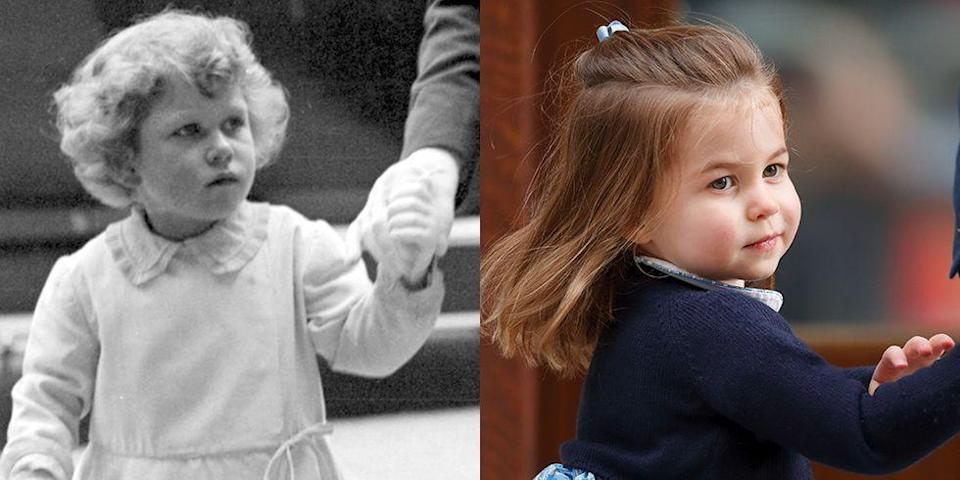 """<p><strong>LEFT: </strong>Princess Elizabeth attends the Royal Tournament — a military pageant for the British Armed Forces — in London in 1930.</p><p><strong>RIGHT:</strong> Princess Charlotte arrives at the<a href=""""https://www.goodhousekeeping.com/life/a19757346/inside-lindo-wing-kate-middleton-birth/"""" rel=""""nofollow noopener"""" target=""""_blank"""" data-ylk=""""slk:Lindo Wing at St. Mary's Hospital"""" class=""""link rapid-noclick-resp""""> Lindo Wing at St. Mary's Hospital</a> on April 23, 2018 for the birth of her younger brother <a href=""""https://www.goodhousekeeping.com/life/a20196259/first-photos-prince-louis-instagram/"""" rel=""""nofollow noopener"""" target=""""_blank"""" data-ylk=""""slk:Prince Louis"""" class=""""link rapid-noclick-resp"""">Prince Louis</a>.<br></p>"""