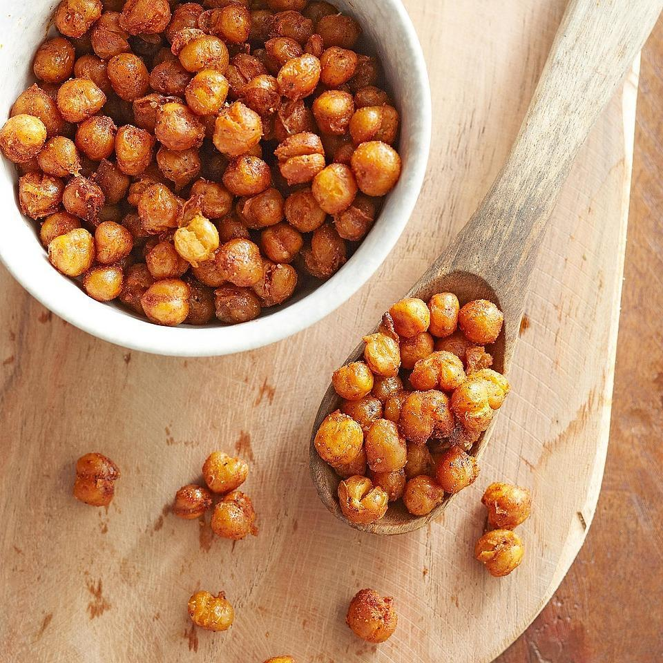 <p>Toasted chickpeas are now a popular vegan snack, but why spend extra money buying them at the health food store when you can easily make them yourself? They're delicious as a snack but also make a wonderful salad topping.</p>