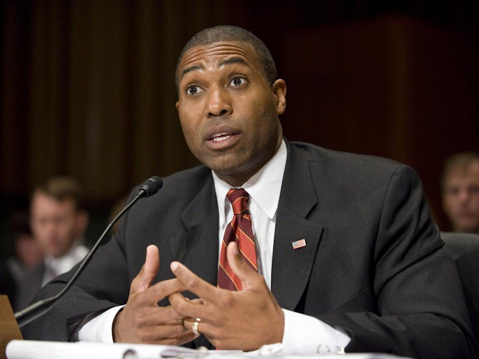 """Assistant Attorney General for the Civil Division of the Department of Justice Tony West during the Senate Judiciary hearing on health care fraud in 2009. <p class=""""copyright"""">Scott J. Ferrell/Congressional Quarterly/Getty Images</p>"""