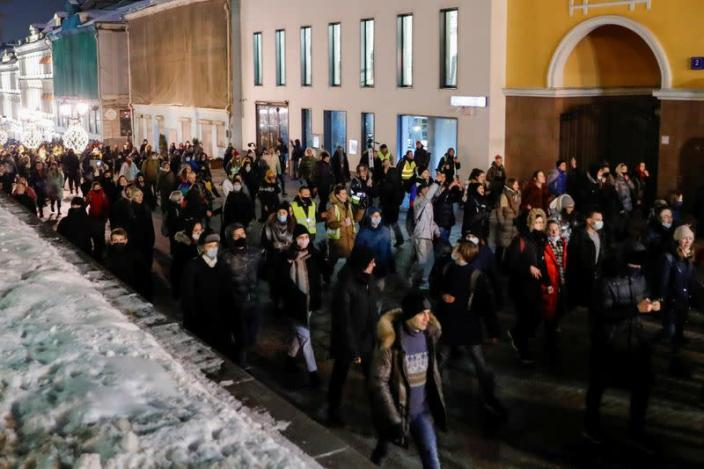 FILE PHOTO: Demonstrations supporting Russian opposition leader Navalny in Moscow