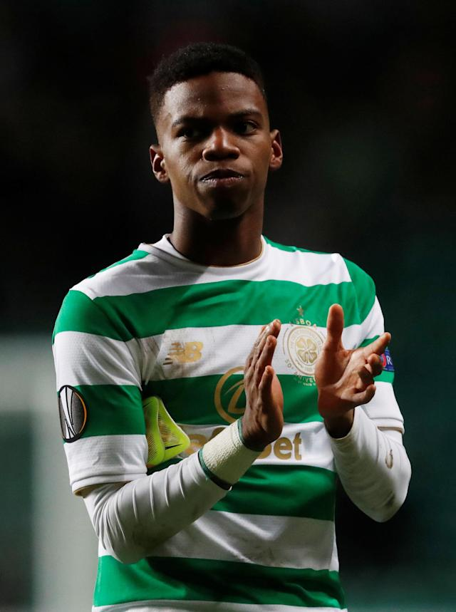 Soccer Football - Europa League Round of 32 First Leg - Celtic vs Zenit Saint Petersburg - Celtic Park, Glasgow, Britain - February 15, 2018 Celtic's Charly Musonda applauds fans after the match REUTERS/Russell Cheyne