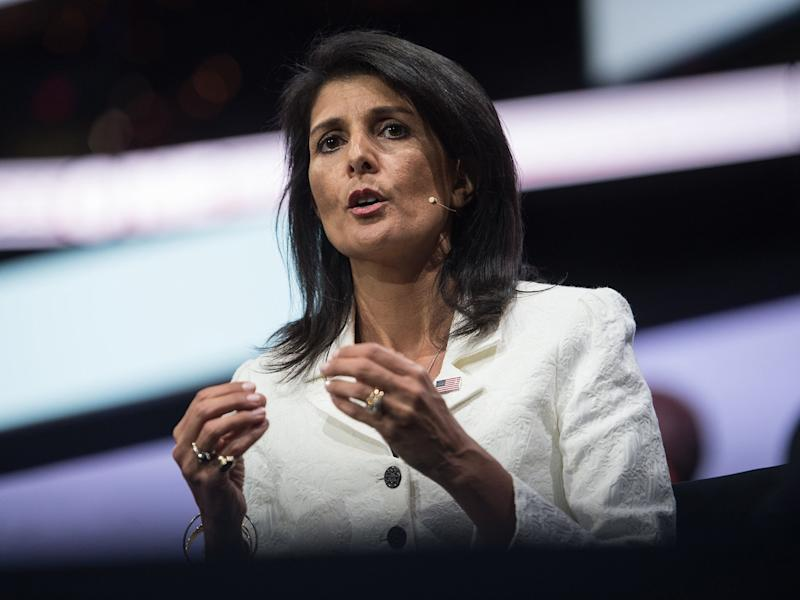 US Ambassador to the UN Nikki Haley receives rapturous applause at AIPAC meeting in 2017: AFP/Getty Images