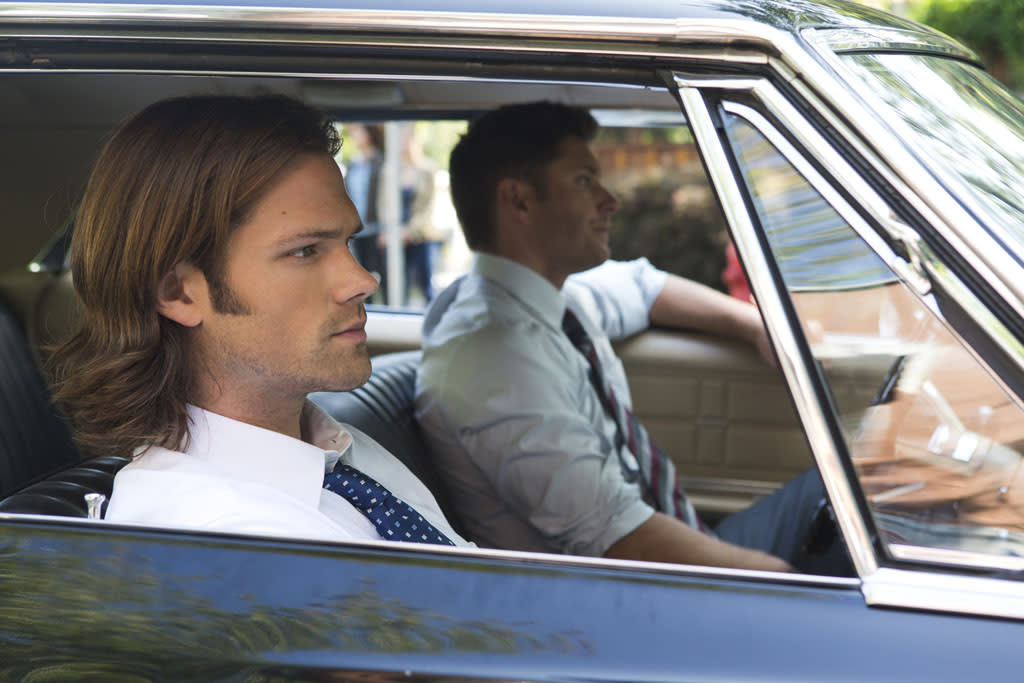 "Jared Padalecki as Sam and Jensen Ackles as Dean in the ""Supernatural"" episode, ""Bitten."""