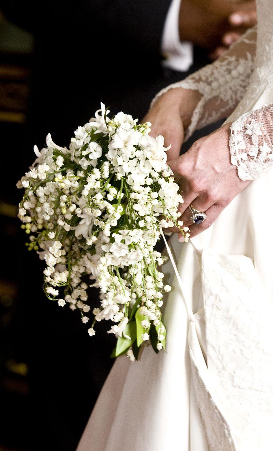 """<p>Kate's <a href=""""https://www.glamour.com/story/royal-wedding-the-meaning-behi"""" rel=""""nofollow noopener"""" target=""""_blank"""" data-ylk=""""slk:bouquet contained local flowers"""" class=""""link rapid-noclick-resp"""">bouquet contained local flowers</a> like lily of the valley, sweet William, myrtle, hyacinth, and ivy. She also embraced the royal tradition, dating all the way back to Queen Victoria, to carry a sprig of myrtle in her wedding bouquet.</p>"""