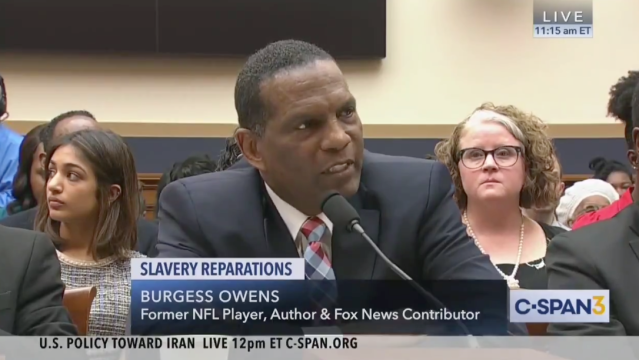 Burgess Owens speaks before Congress. (via screenshot)