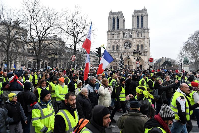 Yellow vest protesters in front of Notre Dame cathedral in January