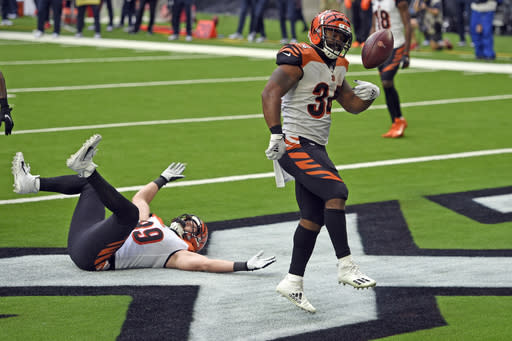 Cincinnati Bengals running back Samaje Perine (34) celebrates after running for a touchdown against the Houston Texans during the second half of an NFL football game Sunday, Dec. 27, 2020, in Houston. (AP Photo/Eric Christian Smith)