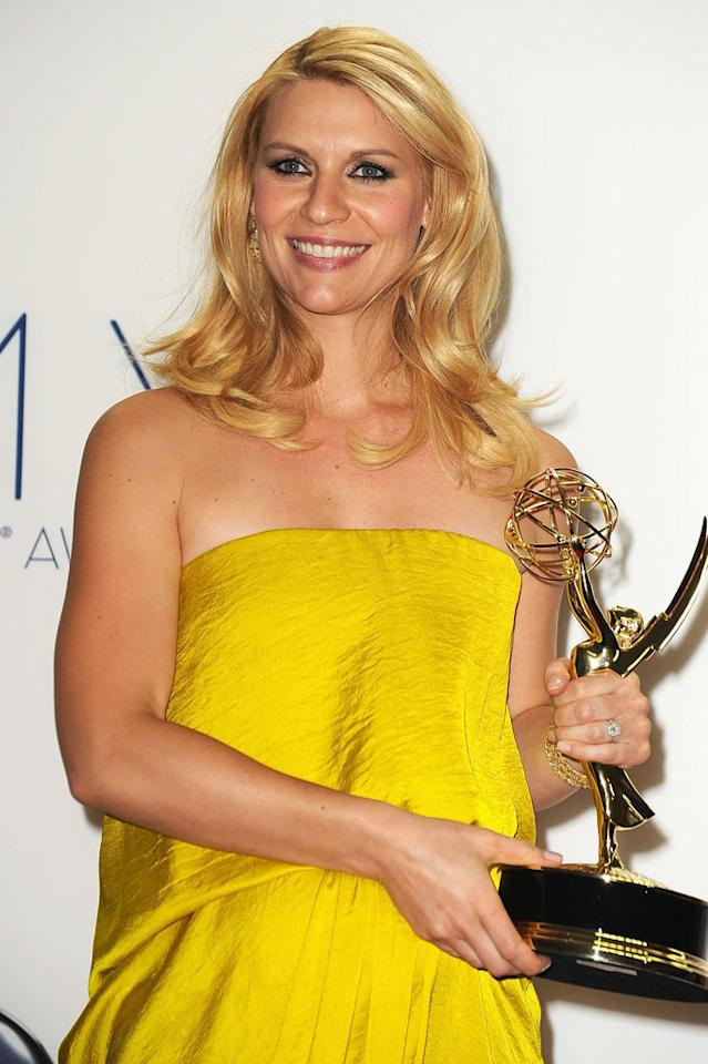 Claire Danes poses in the press room of the 64th Primetime Emmy Awards at Nokia Theatre L.A. Live on September 23, 2012 in Los Angeles, California.  (Photo by Steve Granitz/WireImage)