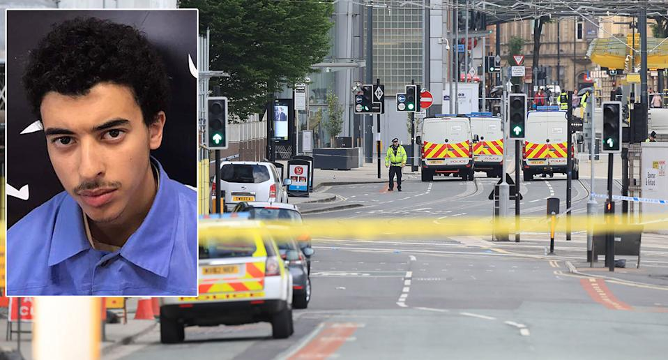 Hashem Abedi, left, is on trial accused of helping his brother commit murder in the Manchester bombing. Right, emergency services on the scene after Salman Abedi detonated his device. (PA Images)