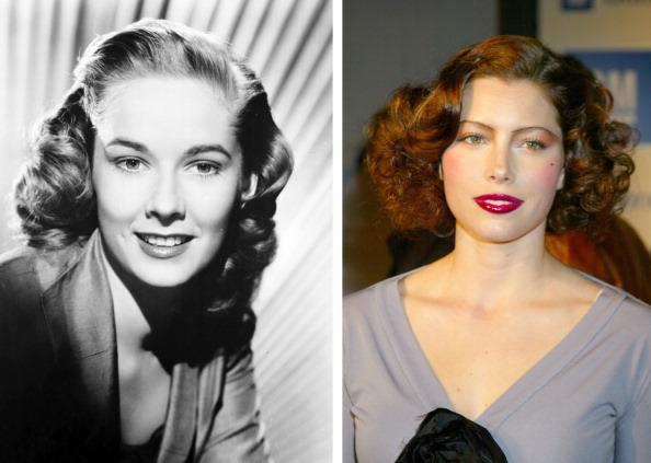 """(FILE PHOTO) In this composite image a comparison has been made between actresses Vera Miles (L) and Jessica Biel. Actress Jessica Biel will play actress Vera Miles in a film biopic about filmmaker Alfred Hitchcock entitled """"Hitchcock."""" ***LEFT IMAGE*** UNSPECIFIED: Vera Miles in the 1950's. (Photo by Film Favorites/Getty Images) ***RIGHT IMAGE*** HOLLYWOOD - March 18: Jessica Biel appears at GM Ten Celebrates 75 Years of Film with Celebrity Fashion Show on March 18, 2003 in Hollywood, California. (Photo by Jim Smeal/WireImage)"""