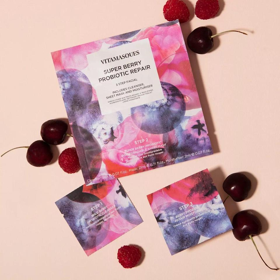<p>Give yourself an instant facial at home with this <span>Vitamasques 3-Step Facial Mask - Super Berry</span> ($4). It has a cleanser, the sheet mask, and a nourishing moisturizer. It contains probiotics to keep your skin barrier in tip top shape!</p>