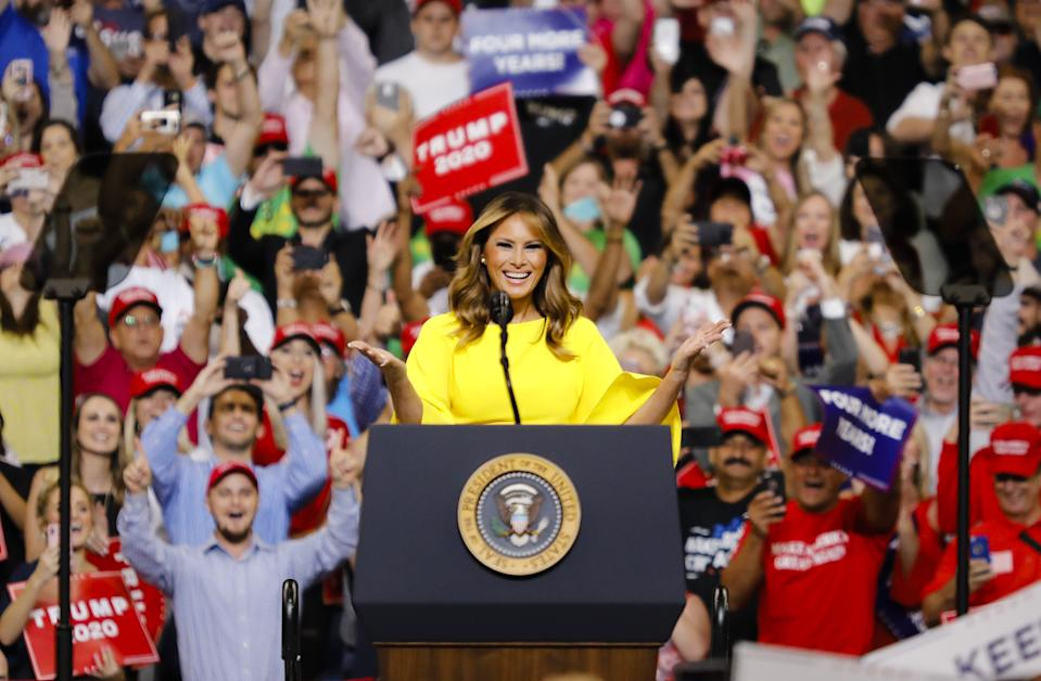 The First Lady kick-started the 2020 presidential race in a sunny yellow jumpsuit [Photo: Getty]