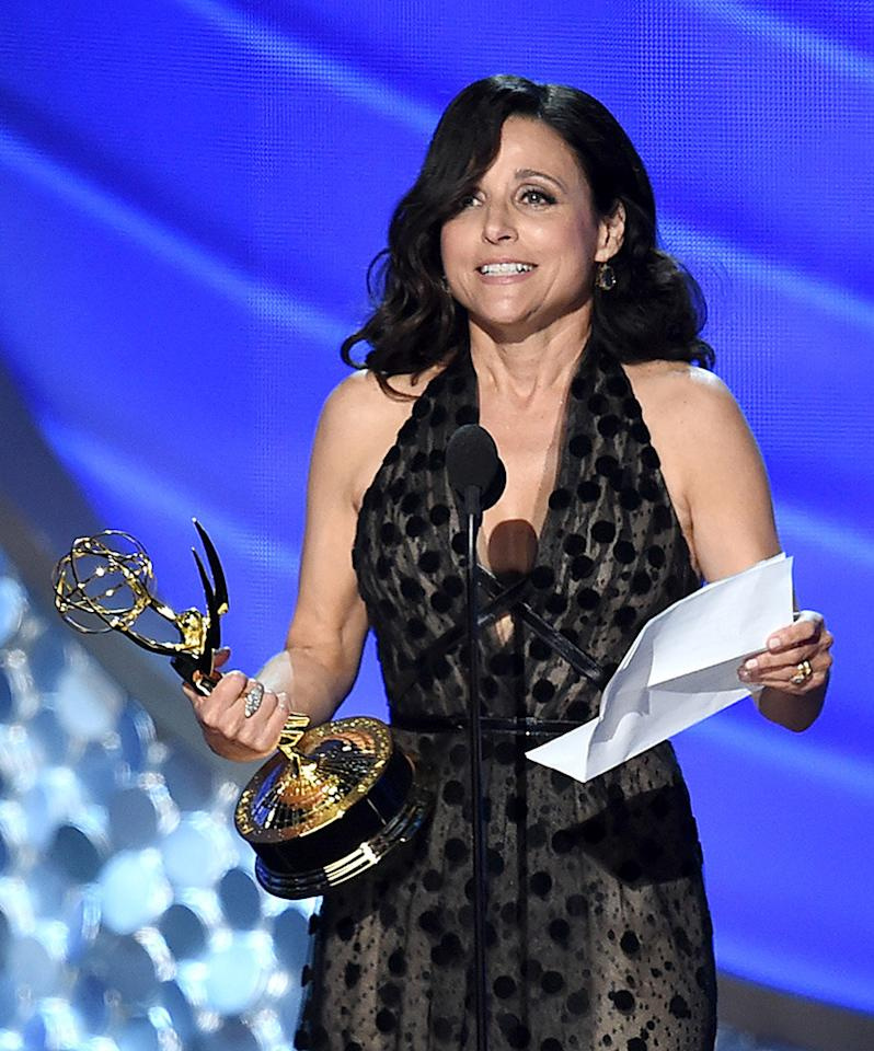 <p>Julia Louis-Dreyfus accepts Outstanding Lead Actress in a Comedy Series for 'Veep' onstage during the 68th Annual Primetime Emmy Awards at Microsoft Theater on September 18, 2016 in Los Angeles, California. (Photo by Kevin Winter/Getty Images)</p>