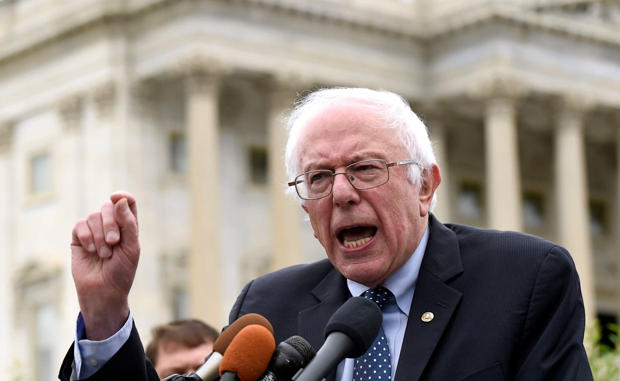 Sen. Bernie Sanders speaks during a news conference on Capitol Hill in Washington, D.C. on June 3, 2015.