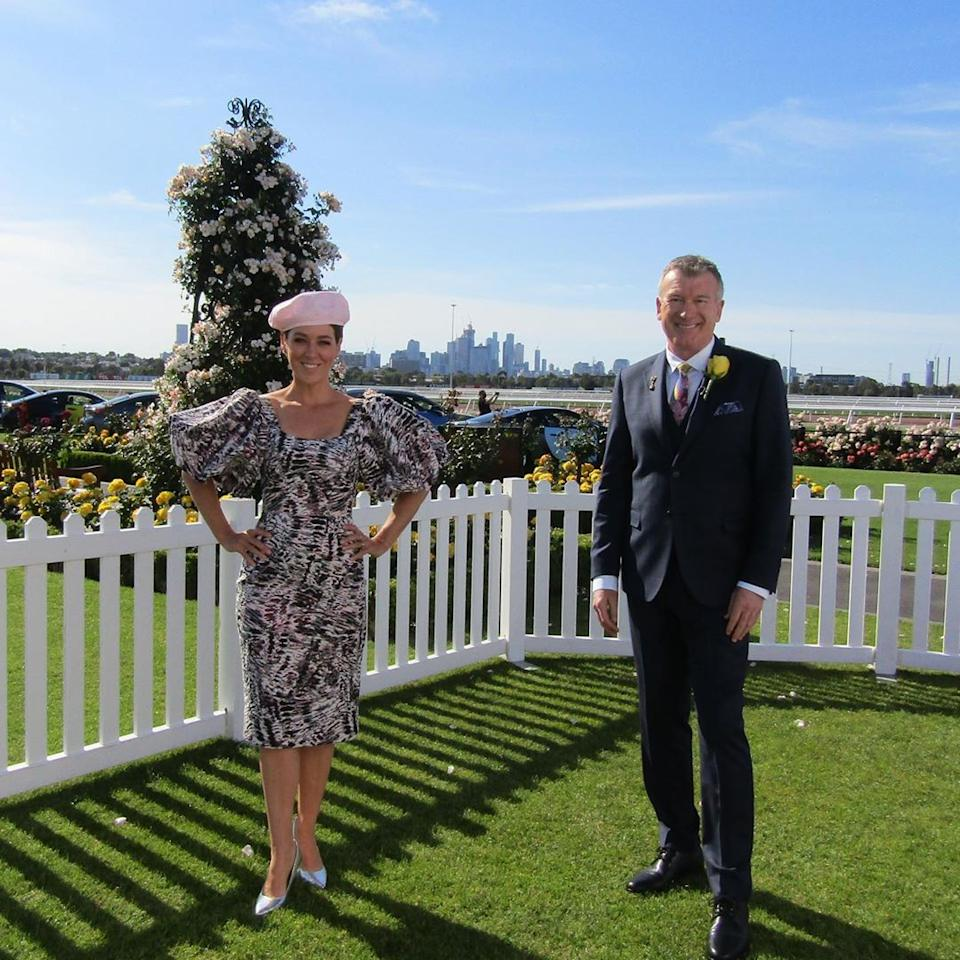 Channel 10's Melbourne Cup coverage host Gorgi Coghlan stepped out in a Jason Grech dress. Photo: Instagram/gorgicoghlan.