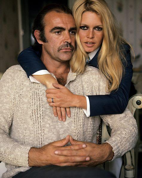<p>Brigitte Bardot and Connery pose for a publicity shot during their first meeting in France before filming Shalako, 1968.</p>