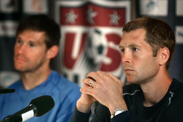 McBride and current U.S. coach Gregg Berhalter (right) were teammates at the 2006 World Cup in Germany. (Carlos Barria/Reuters)