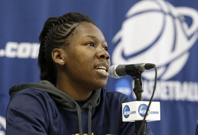 California's Afure Jemerigbe responds to a a question during an NCAA college basketball tournament news conference, Sunday, March 23, 2014, in Waco, Texas. California is scheduled to play Baylor Monday. (AP Photo/Tony Gutierrez)