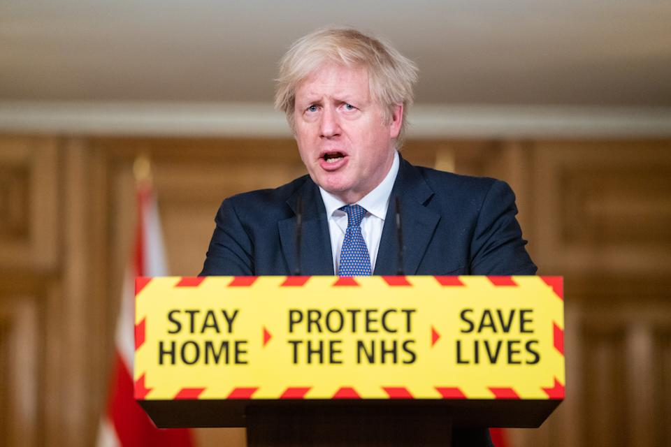 LONDON, ENGLAND - JANUARY 15: UK Prime Minister Boris Johnson speaks during a media briefing on coronavirus (COVID-19) at Downing Street on January 15, 2021 in London, England. (Photo by Dominic Lipinski - WPA Pool/Getty Images)