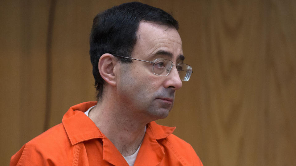 Nassar appears in court for sentencing in Eaton County Circuit Court in Charlotte, Mich., on Feb. 5, 2018. (Rena Laverty/AFP via Getty Images)