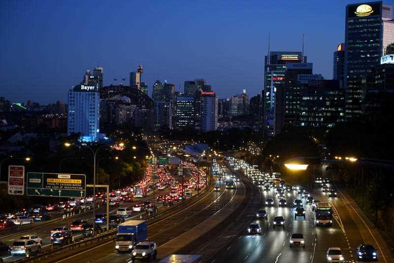 General view of traffic on the Warringah freeway in Sydney.