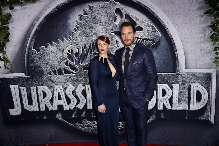 """Actors Bryce Dallas Howard (L) and Chris Pratt attend the premiere of """"Jurassic World"""" at the Dolby Theatre on June 9, 2015 in Hollywood, California (AFP Photo/Kevin Winter)"""
