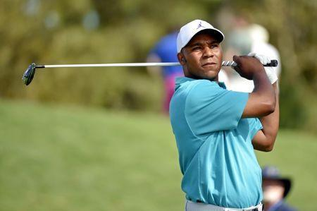 Mar 14, 2019; Ponte Vedra Beach, FL, USA; Harold Varner III plays his shot from the 16th tee during the first round of THE PLAYERS Championship golf tournament at TPC Sawgrass - Stadium Course. Mandatory Credit: John David Mercer-USA TODAY Sports