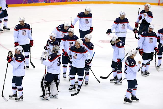 SOCHI, RUSSIA - FEBRUARY 21: The United States reacts after losing 1-0 to Canada during the Men's Ice Hockey Semifinal Playoff on Day 14 of the 2014 Sochi Winter Olympics at Bolshoy Ice Dome on February 21, 2014 in Sochi, Russia. (Photo by Julian Finney/Getty Images)