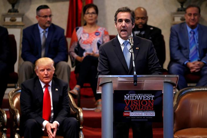 Trump appears with Cohen during campaign stop at the New Spirit Revival Center church in Cleveland Heights, Ohio (Jonathan Ernst / Reuters file)