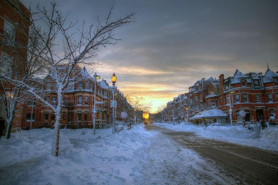 <p>Even one of the busiest streets in Boston looks peaceful after a winter storm.</p>