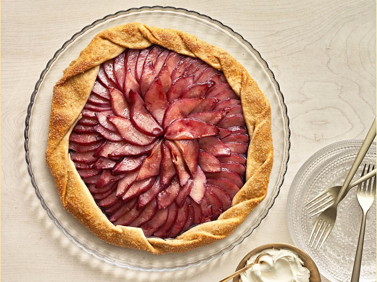 """<p><strong>Try this recipe: </strong><a href=""""https://www.health.com/recipes/red-wine-poached-pear-galette"""">Red Wine-Poached Pear Galette</a></p> <p>Pears are great for fall, but these are brimming with flavor after being poached in red wine. </p> <p><strong>Ingredients:</strong> dry red wine, granulated sugar, whole star anise, Anjou pears, Whole-Wheat Piecrust Dough, All-purpose flour, egg, turbinado sugar, kosher salt, mascarpone cheese, powdered sugar</p> <p><strong>Calories: </strong>264</p>"""