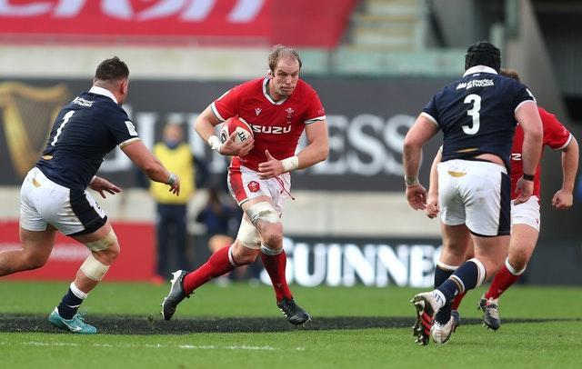 Alun Wyn Jones, centre, set a new world record for Test appearances in Llanelli, but Wales slipped to defeat against Six Nations rivals Scotland