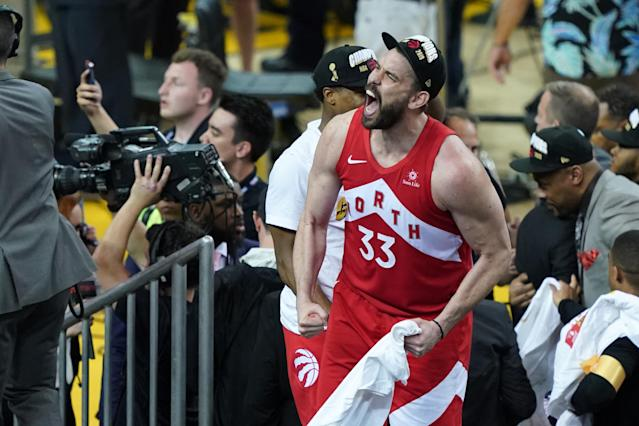Marc Gasol #33 of the Toronto Raptors celebrates his teams victory over the Golden State Warriors in Game Six to win the 2019 NBA Finals at ORACLE Arena on June 13, 2019 in Oakland, California. (Photo by Thearon W. Henderson/Getty Images)
