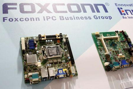 FILE PHOTO: Foxconn's computer motherboards are seen during the annual Computex computer exhibition in Taipei