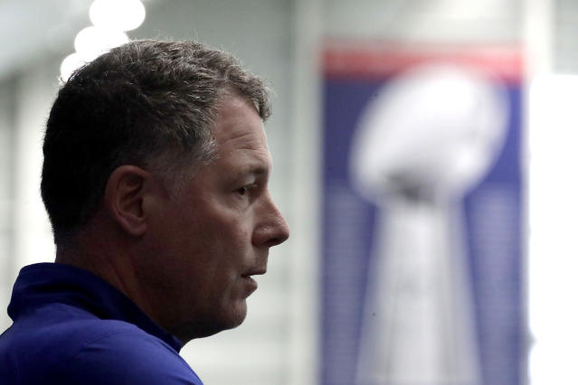 New York Giants head coach Pat Shurmur speaks to reporters during NFL football training camp, Wednesday, April 25, 2018, in East Rutherford, N.J. (AP Photo/Julio Cortez)
