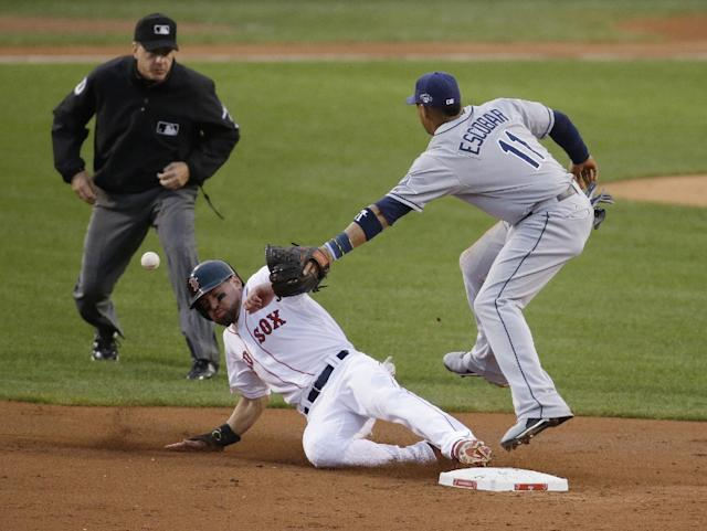 Boston Red Sox's Jacoby Ellsbury steals second base as the throw gets past Tampa Bay Rays shortstop Yunel Escobar (11) in the first inning in Game 2 of baseball's American League division series Saturday, Oct. 5, 2013, in Boston. Ellsbury scored the game's first run later in the inning. (AP Photo/Stephan Savoia)