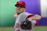 Cincinnati Reds starter Jeff Hoffman pitches against the Pittsburgh Pirates during the first inning of a baseball game Tuesday, May 11, 2021, in Pittsburgh. (AP Photo/Keith Srakocic)