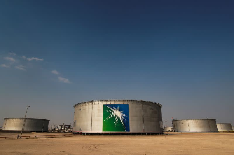 A view shows branded oil tanks at Saudi Aramco oil facility in Abqaiq