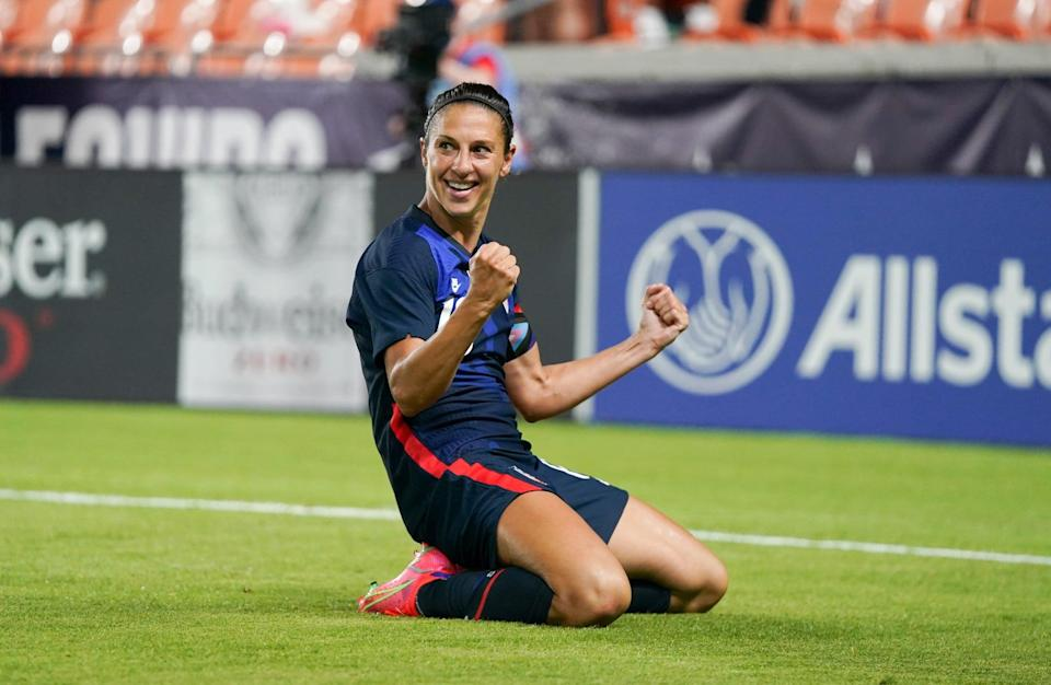 HOUSTON, TX - JUNE 13: Carli Lloyd #10 of the United States celebrates after scoring a goal against Jamaica during a 2021 WNT Summer Series game at BBVA Stadium on June 13, 2021 in Houston, Texas. (Photo by Brad Smith/ISI Photos/Getty Images)