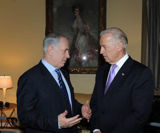 Then-Vice President Biden, right, meets with then-Israeli Prime Minister Benjamin Netanyahu in 2010. Pro-Israel groups pressure Democrats to be as supportive of Israel as Biden. (Photo: Amos Ben Gershom/GPO/Getty Images))