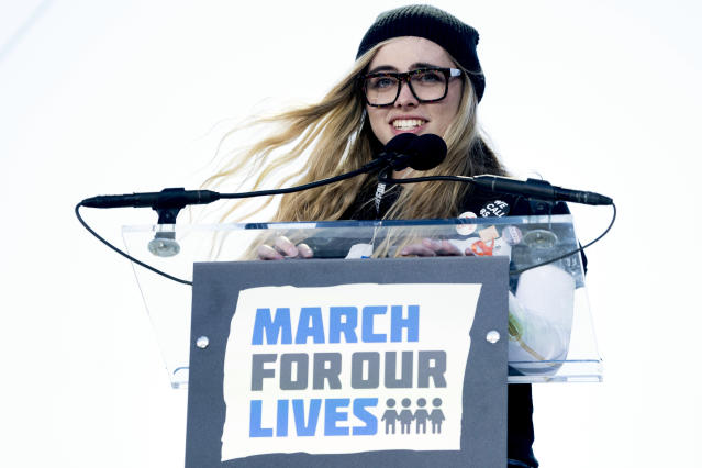 <p>Delaney Tarr, a survivor of the mass shooting at Marjory Stoneman Douglas High School in Parkland, Fla., speaks during the March for Our Lives rally in support of gun control in Washington, Saturday, March 24, 2018. (AP Photo/Andrew Harnik) </p>