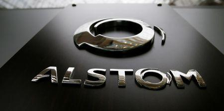 The logo of Alstom Group is seen at the company's headquarters after a news conference to present the company's full year to end-March 2015/16 annual results Saint-Ouen, near Paris, France, May 11, 2016. REUTERS/Gonzalo Fuentes/Files