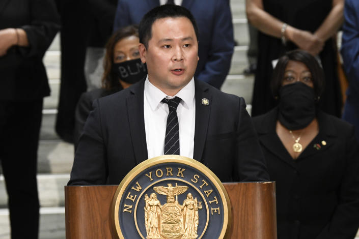 """FILE - In this June 8, 2020, file photo, Assemblyman Ron Kim, D-Queens, speaks during a press briefing at the state Capitol in Albany, N.Y. Kim says Gov. Andrew Cuomo vowed to """"destroy"""" him, during a private phone call for criticizing his handling of COVID-19 outbreaks at nursing homes. (AP Photo/Hans Pennink, File)"""